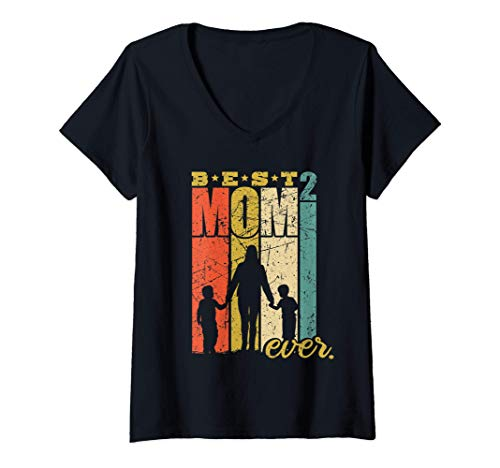 Femme Best Mom Ever mère de 2 enfants deux fils T-Shirt avec Col en V
