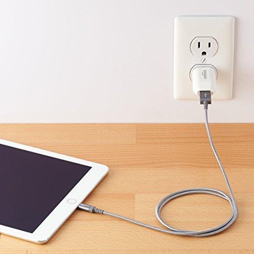 AmazonBasics - Cable conector USB a Lightning (nailon trenzado, certificado por Apple, 0,9 m), color gris oscuro