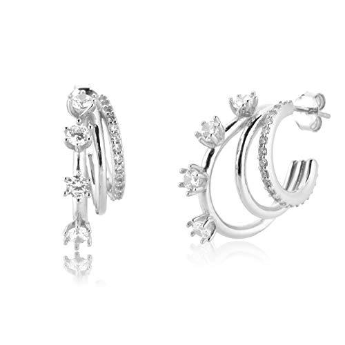 WWWL Earrings 925 Sterling Silver Gold Three Triple Circle Hoops 20mm Round Line Huggies Loops Crystal Rock Punk Fine Jewelry Silver-White