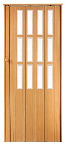 Falttür Schiebetür buche farben mit Schloß - Schlüssel und Fenster Höhe 203 cm Einbaubreite bis 115 cm Doppelwandprofil Neu