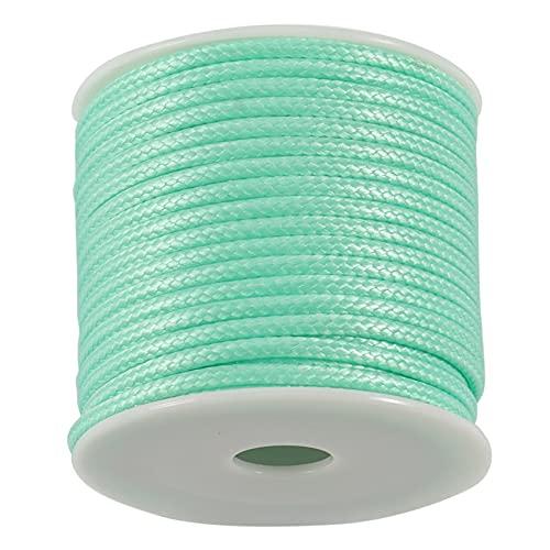 Exanko 12 M/Rollo 2,5 Mm Collar de Hilo Encerado Redondo Cuerda Hilo de Cuero Accesorios para FabricacióN de Joyas-2 Piezas, Verde Claro