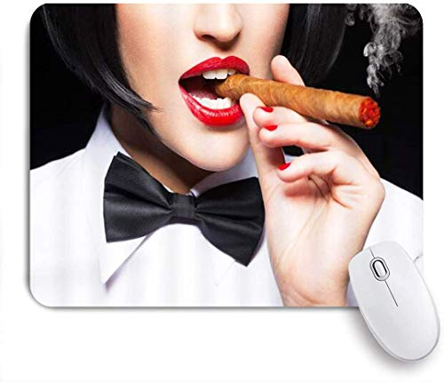 Schönheit Frau Rauchen Zigarre Lippen Mode Mausmatte,Mausunterlage,Gummiunterseite Maus Pad,Schreibtischunterlage