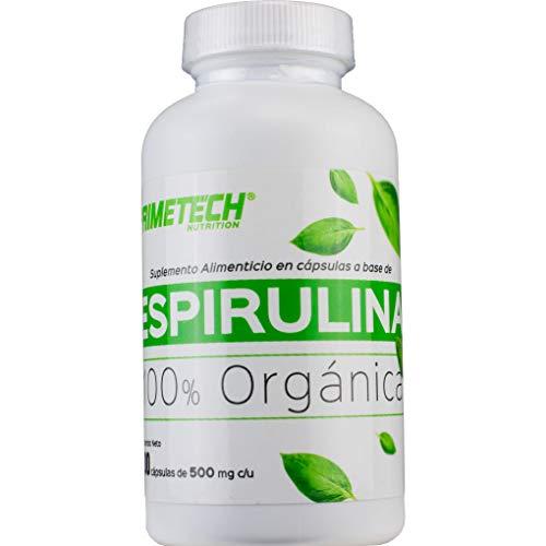 Espirulina Orgánica Primetech 100 cápsulas de 500 mg organic spirulina Permiso cofepris 193300CO361470 suplemento alimenticio