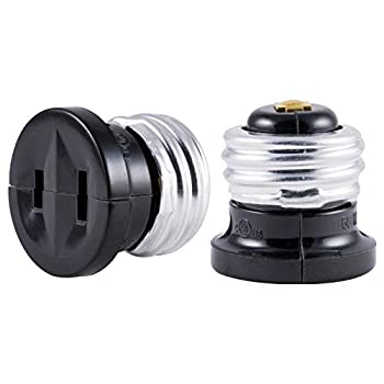 GE Polarized Handy Plug 2 Pack Convert Light Bulb Socket to Outlet Adapter 2-Prong Easy to Install UL Listed Black 54276
