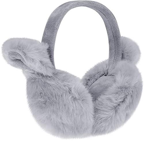 Womens Girls Winter Warm Cute Cat Earmuffs Soft Plush Ear Warmer Outdoor Ear Covers Earflap Headband (With Ear,Grey)