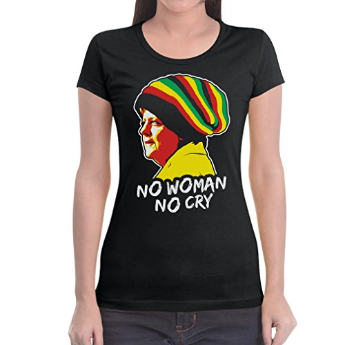 Coole Jamaika Merkel in Reggae muts - No Woman No Cry dames T-shirt slim fit