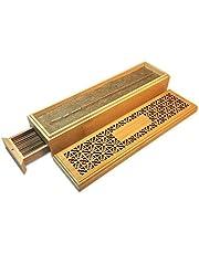 مبخرة على شكل صندوق من خشب الخيزران مع درج لحرق عيدان البخور