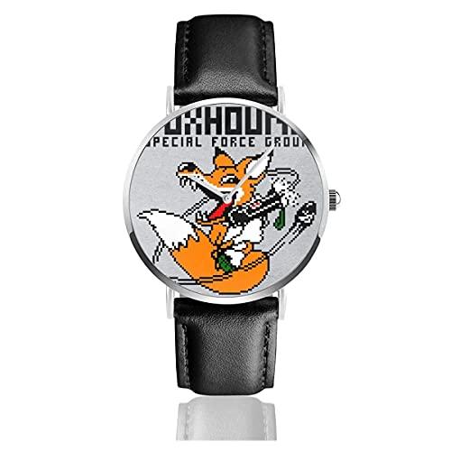 Relojes Cuarzo Cuero Banda Negra Colección Joven Regalo Unisex Business Casual Foxhound Special Forces Metal Gear Solid Black