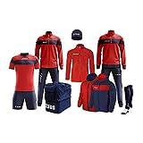Zeus Marca Box Apollo - Kit completo formado por chándal de entrenamiento, chándal relax, chaleco, calcetines, bolsa K-Way Kit de fútbol - Home Shop Italia (rojo-azul, S)