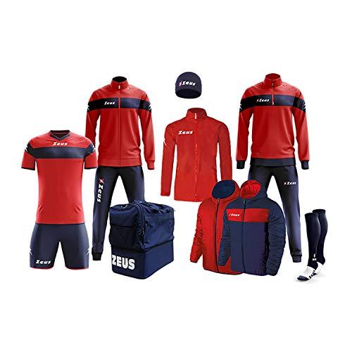 Zeus Marke Box Apollo Komplettset für Trainingsanzug, Entspannung, Socken, K-Way, Fußball-Set, Italien (rot-blau, M)
