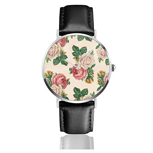 Rustikale Shabby Rose Blumenmuster Rosa Rosen Uhr Quarzwerk Wasserdichtes Leder Uhrenarmband Für Männer Frauen Einfache Business Casual