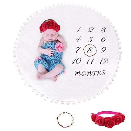 Coperta per pietre miliari mensile per bambini con ghirlanda e fascia per capelli, doppio strato di pom pom palla spessa flanella tappeto rotondo sfondo baby Photp puntelli per fotografia