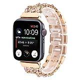 Anbel 42 mm y 44 mm de Acero Inoxidable Reloj de la Banda, Cadena Vaquero con Rosa Correa de Reloj del Diamante, for Apple Ver Series de 5 y 4 y 3 y 2 y 1 (Color : Rose Gold)