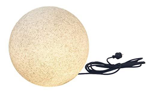 Trango 1er Set 200GB LED Kugel Granitstein-Optik Gartenkugel IP65 Kugelleuchte in 20cm Durchmesser incl. je 1x E27 LED Leuchtmittel mit je 5 Meter Kabel, Kugellampe, Gartenleuchte, Außenlampe