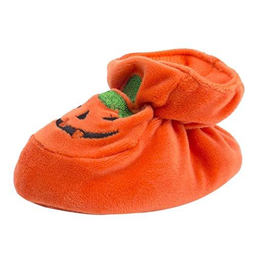 DQANIU Babyschuhe, Neugeborenes Kleinkind Baby Mädchen/Jungen Halloween Flock Kürbis Weiche Sohle Freizeitschuhe, Halloween Festival Dekor Baumwolle Schuhe für Baby, 0-12M (Orange, EU:9/0-3M)