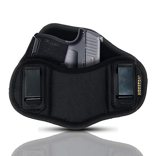 Tactical Pancake Gun Holster Houston - ECO Leather Concealed Carry Soft Material | Suede Interior for Protection | IWB | Right Hand | Fits: Glock 42 43 | Kahr 9mm .40 .45 | Bersa .380 | Ruger LC9