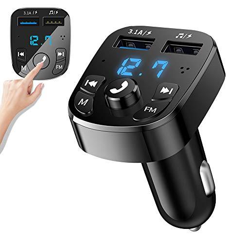 Transmetteur FM Bluetooth,Kit Main Libre Voiture Bluetooth Chargeur Rapide Allume Cigare avec Dual USB Ports,Lecteur MP3 Adaptateur Radio sans Fil, Support Carte TF Clé USB (Style:2)