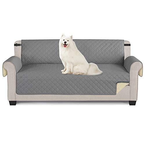 TAOCOCO Sofabezüge wasserdichte Sofa Überwürfe mit elastischen Riemen Anti-Rutsch-Schaum für das Wohnzimmer Schutz für Hunde Vor Haustieren, Verschütten, Abnutzung und Riss schützen (Grau, 3 Sitzer)