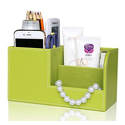 Colores de madera PU Cuero Multifunción Escritorio Efectos de escritorio Organizador Caja de almacenamiento Pluma/Lápiz/Nombre Tarjetas Titular de control remoto (Color : Green)