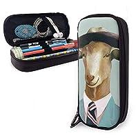 ペンケース 筆箱 おかしい氏ヤギ 大容量 軽量 多機能 PUレザー 鉛筆 文具ケース 収納ポーチ 文房具 中学生 高校生