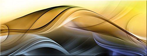 artissimo, Glasbild, 80x30cm, AG1953A, New Wave, Bunte abstrakte Welle, Bild aus Glas, Moderne Wanddekoration aus Glas, Wandbild Wohnzimmer modern