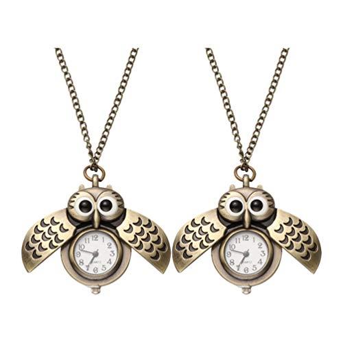 ibasenice 2 Unids Búho Reloj de Bolsillo Vintage Retro Bronce Steampunk Locket Reloj de Bolsillo Colgante Cadena Larga Animal Pájaro Collar Reloj de Cuarzo Regalo para Niñas Niños Niños