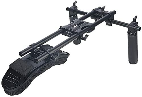 NICEYRIG Schulterpolster, 15 mm, für spiegellose DSLR-Kameras, stabile Videoaufnahmen, Schulter-Rig mit Universal-Gr&platte, Aluminium-Legierung, 15 mm Stab, Handgriff-Set – 435