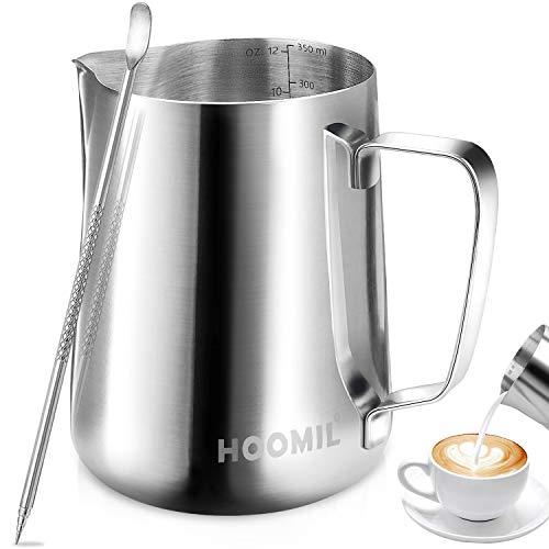 HOOMIL Bricco per Latte in Acciaio Inossidabile Latte Brocca in Schiuma per caffè e Latte Art (350ml/12fl.oz)