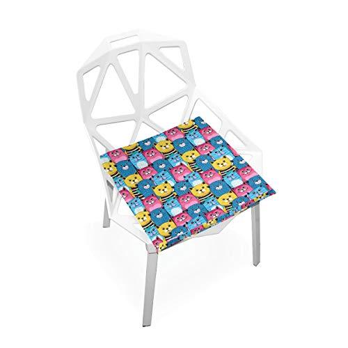 Cojín de espuma viscoelástica para sillas de cocina, suave, lavable, antipolvo, silla de comedor, almohadilla de 40,6 x 40,6 cm (gato) 2030005