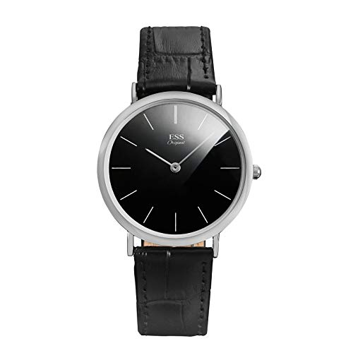ESS Herren Lederarmband Uhren Quarz Uhren schwarz Zifferblatt dünn silber