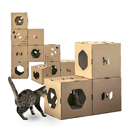 Cat Tunnel Hi Animal Modern Cat Tunnel Cubes & Modular Cat Tree - House & Condo for Cats with stickers DIY, Build Your Own Fully Customizable Cat House|Cat Furniture (3-pack and 2-cat scratchs)