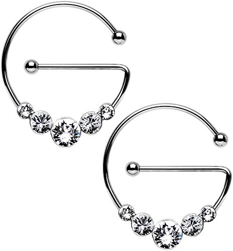Body Candy Stainless Steel Clear Universal Nipple Ring Set Created with Swarovski Crystals 14 product image