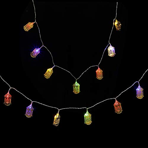 SOLUSTRE Eid Mubarak - Guirnalda de luces LED de hierro, diseño de farolillo hueco, 300 cm, 20 ledes, luz multicolor, sin batería, festival, islámico, Ramadán