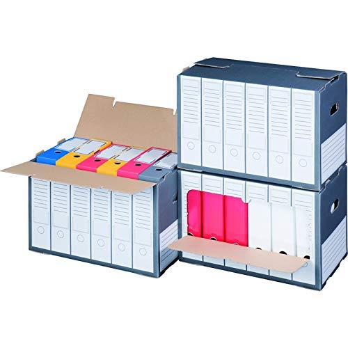 KK Verpackungen® Archivboxen   10 Stück, Archivschachteln mit Sichtfenster für bis zu 6 Ordner   Archivkartons mit Beschriftungsfeldern in Anthrazit