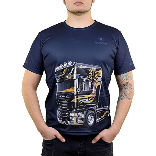 Scania Dryfit Graphic T Shirt for Men - Mens Fitted Tshirts with Moisture Wicking Fabric - Scania Racing Apparel (L)