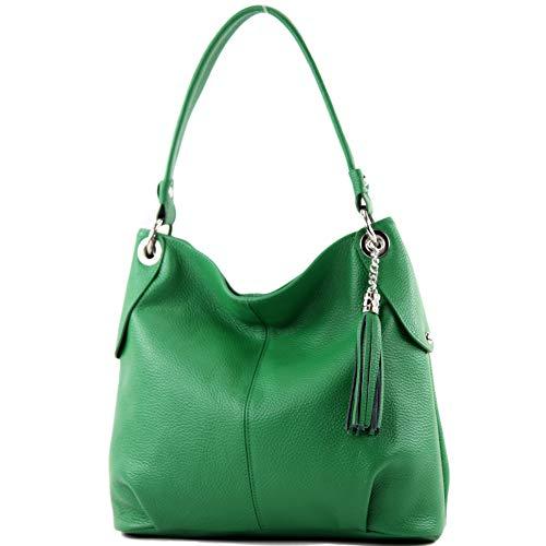 modamoda de - T185 - ital. Damen Schultertasche aus Leder, Farbe:Blattgrün