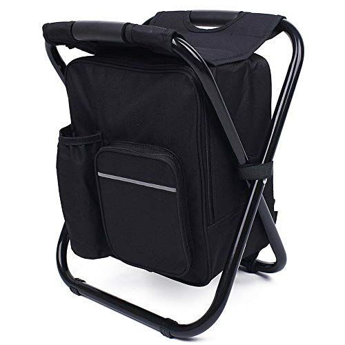 Fishing Backpack Chair, Portable Camping Stool, Foldable Solid Construction Camping Chair with Double Layer Oxford Fabric Cooler Bag for Fishing, Beach, Camping, House and Outing (Black)