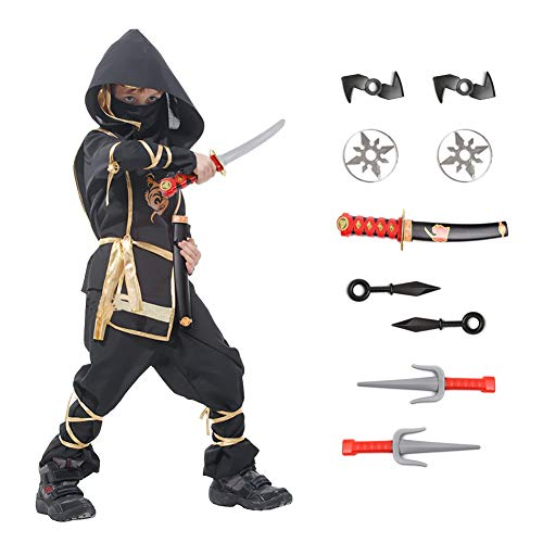 Ninja Halloween Costume for Boys with Included Accessories for Child Dress up Best Gifts (Golden Dragon, Medium (4–6Y))