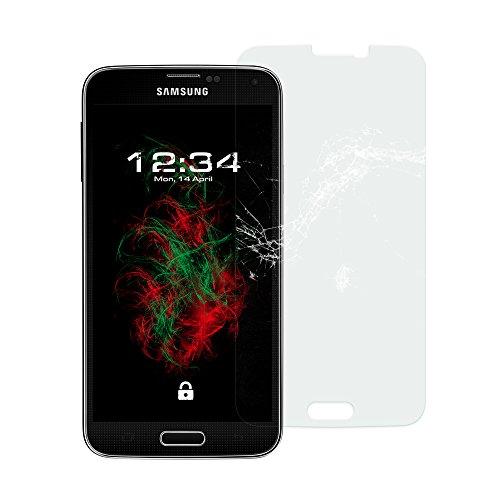 Baluum 1x Glasfolie für Samsung Galaxy S5/S5 Neo klare Bildschirmschutzfolie 9H Echt Glas-folie Clear Tempered Glass Screen protector Glas Durchsichtige Schutzfolie Galaxy S5 Neo (Glasfolie-Klar 1x)