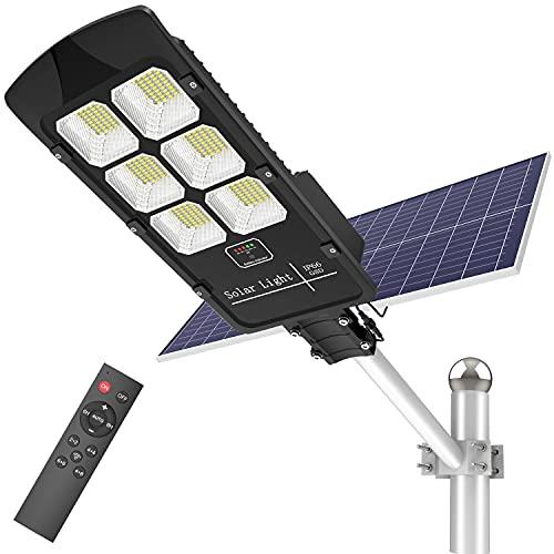 Solar Street Light, TENKOO 600W Solar Flood Lights Outdoor Dusk to Dawn Motion Sensor 6500k LED Solar Pole Light with Remote Control IP66 Waterproof for Parking Lot, Stadium, Garden