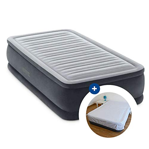 RAVIDAY Pack Matelas Gonflable Intex Comfort Plush Fiber-Tech 191 x 99 x 46 cm + Drap Housse
