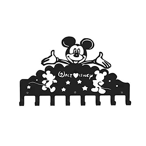 Metal Wall Mounted Coat Rack | Key Holder for Wall | Hanging Racks with Hooks|Key Rack Organizer for entryway (Black, Cute Mickey Mouse-B)