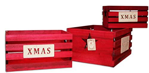 Due Esse s.r.l. Juego de 3 Cajas de Madera con decoración Xmas, apilables, Color Rojo, 30 x 23 x 15 cm, 3 Unidades