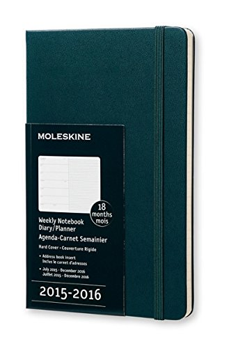 Moleskine Tide grün Pocket 2015–2016Wochenansicht 18Monate Schülerkalender Notebook Hard Cover (9cm x 14cm)