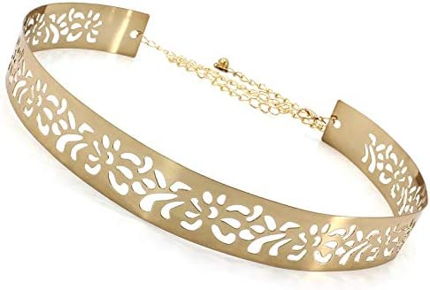 Satyam Kraft 1 Pcs Celebrity Inspired Adjustable metal plate type golden belt for Diwali Gift Special Golden Diva Gol...