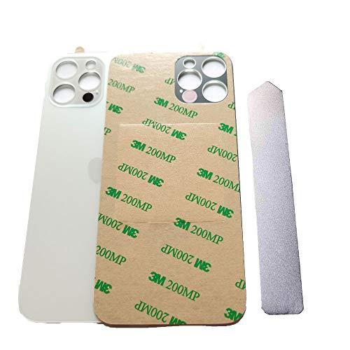 GSHENG Tapa trasera de batería de cristal compatible con iPhone 12 Pro de 6,1 pulgadas, adhesivo preinstalado