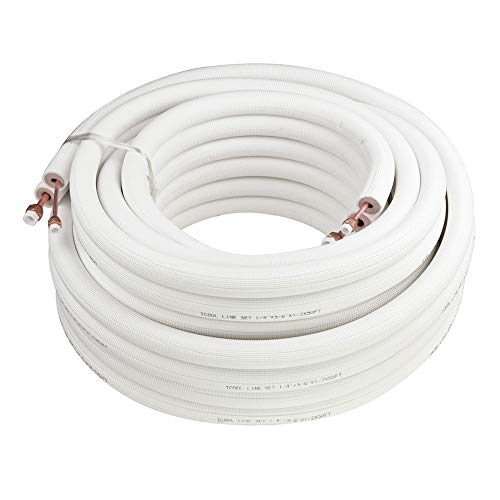 ICOOL Copper Pipes Line Set 50 Ft. 1/4' & 1/2' & 3/8 PE Thickened Insulated Coil with Nuts for Mini Split Air Conditioner HVAC