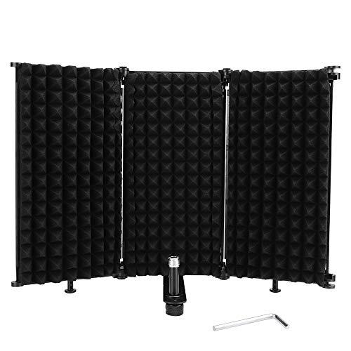 Escudo de sonido profesional, 3 micrófonos plegables Escudo de aislamiento MIC Esponja...