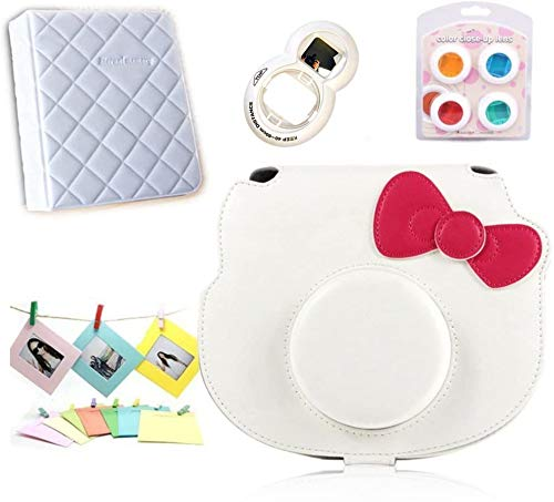 CLOVER Accessory Bundles Set (White Leather Case Bag/ Album/ Close-Up Lens/ Filter) for Fujifilm Instax Mini KT Instant Camera