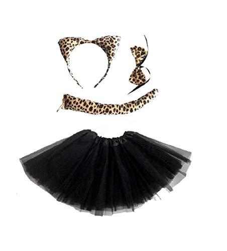 SOS Tierkostüm, Tutu-Kostüm, Party-Accessoire, Frauen mit Ohren, Schleife, Schwanz Gr. One Size, Leopard Hair Set & Black Tutu